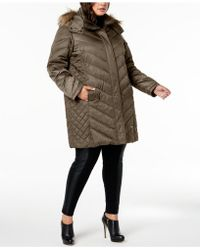Kenneth Cole - Plus Size Faux-fur-trim Quilted-panel Puffer Coat - Lyst