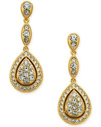 Danori - Gold-tone Teardrop Pavé Framed Drop Earrings - Lyst