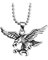 """Macy's - Flying Eagle 24"""" Pendant Necklace In Stainless Steel - Lyst"""