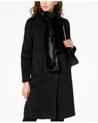 Jones New York - Petite Faux-fur-scarf Walker Coat - Lyst