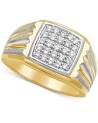 Macy's | Men's Diamond Two-tone Ring (1/2 Ct. T.w.) In 10k Gold & White Rhodium Plated Over 10k Gold | Lyst
