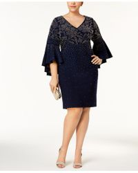 Betsy & Adam | Plus Size Embellished Bell-sleeve Dress | Lyst