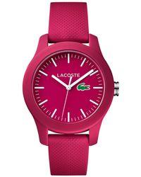 Lacoste - Women's 12.12 Pink Rubber Strap Watch 38mm 2000957 - Lyst