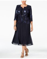 Alex Evenings - Plus Size Sequined Chiffon Dress And Jacket - Lyst