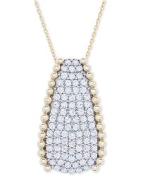 """Wrapped in Love - Tm Diamond Pavé Beaded 18"""" Pendant Necklace (1 Ct. T.w.) In 14k Gold, Created For Macy's - Lyst"""