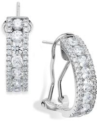 Arabella - Sterling Silver Swarovski Zirconia Three-row Hoop Earrings (4 Ct. T.w.) - Lyst