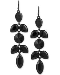 Guess - Black-tone Jet Stone Drop Earrings - Lyst