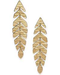 Kate Spade - Gold-tone Leaf Linear Drop Earrings - Lyst