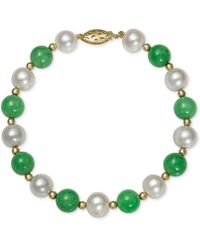 Macy's - 14k Gold Bracelet, Cultured Freshwater Pearl And Jade - Lyst
