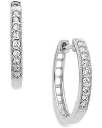 Macy's | Diamond Mini Hoop Earrings In 10k White Gold (1/6 Ct. T.w.) | Lyst