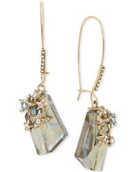 Betsey Johnson - Gold-tone Pavé Star & Iridescent Stone Drop Earrings - Lyst