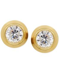 Macy's - Cubic Zirconia Bezel-set Stud Earrings In 14k Yellow, White Or Rose Gold - Lyst