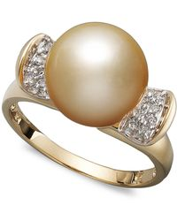 Macy's - 14k Gold Ring, Cultured Golden South Sea Pearl (10mm) And Diamond (1/8 Ct. T.w.) - Lyst
