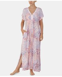Ellen Tracy - Printed Embroidered Trim Knit Caftan - Lyst