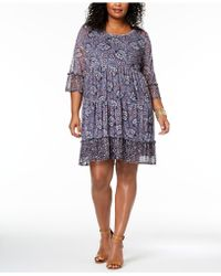 Style & Co. - Plus Size Printed Lantern-sleeve Empire-waist Dress, Created For Macy's - Lyst