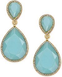 ABS By Allen Schwartz - Gold-tone Blue Stone And Pavé Drop Earrings - Lyst