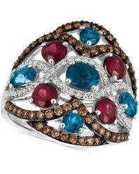 Le Vian - Blue Topaz, Raspberry Rhodolite Garnet® And Diamond (3-1/6 Ct. T.w.) Ring In 14k White Gold - Lyst