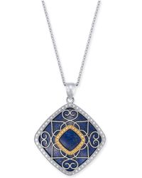 "Macy's - Lapis Lazuli (26mm) Filigree 18"" Pendant Necklace In Sterling Silver & 14k Gold - Lyst"