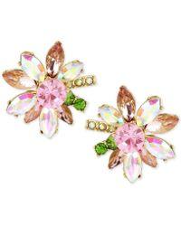 Betsey Johnson - Gold-tone Multi-crystal Flower Stud Earrings - Lyst
