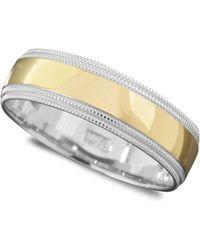 Macy's - Men's 14k Gold And 14k White Gold Ring, Milgrain Edge (size 6-13) - Lyst