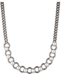 DKNY - Hematite-tone Imitation Pearl Collar Necklace - Lyst