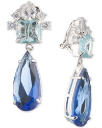 Carolee - Silver-tone Crystal Clip-on Drop Earrings - Lyst