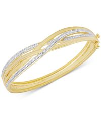 Macy's - Diamond Accent Weave-style Bangle Bracelet In Gold Over Sterling Silver-plated Brass - Lyst