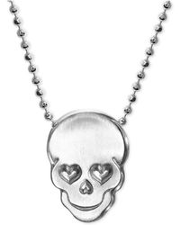 Alex Woo - Love Skull Beaded Pendant Necklace In Sterling Silver - Lyst