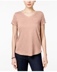 Style & Co. - Petite V-neck Pocket T-shirt, Created For Macy's - Lyst