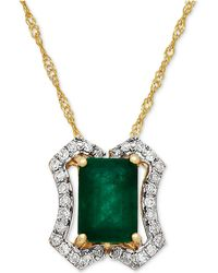 Macy's | Emerald (1 Ct. T.w.) & Diamond (1/8 Ct. T.w.) Pendant Necklace In 14k Gold | Lyst