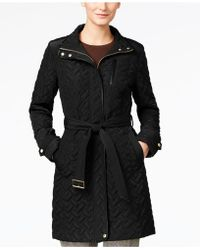 Cole Haan - Quilted Belted Coat - Lyst