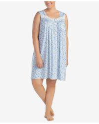 Eileen West - Plus Size Lace-trimmed Printed Knit Nightgown - Lyst