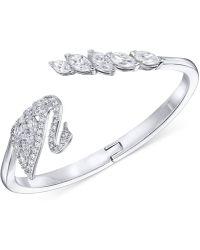Swarovski - Silver-tone Pavé Swan Hinged Bangle Bracelet - Lyst