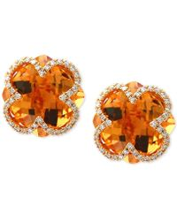 Effy Collection - Citrine (7-1/10 Ct. T.w.) & Diamond (1/5 Ct. T.w.) Clover Earrings In 14k Gold - Lyst