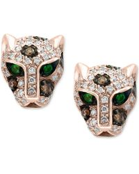 Effy Collection - Diamond (1/3 Ct. T.w.) & Tsavorite Accent Panther Stud Earrings In 14k Rose Gold - Lyst
