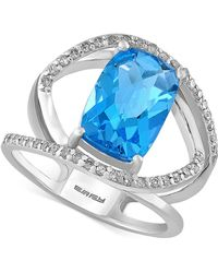 Effy Collection Blue Topaz (5-2/3 Ct. T.w.) And Diamond (1/5 Ct. T.w.) Ring In 14k White Gold
