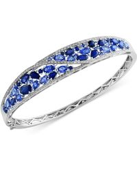 Effy Collection - Sapphire (7-1/3 Ct. T.w.) And Diamond (1/2 Ct. T.w.) Bangle Bracelet In 14k White Gold - Lyst