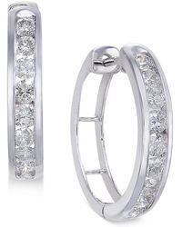 Macy's - Diamond Hoop Earrings (1 Ct. T.w.) In Sterling Silver - Lyst