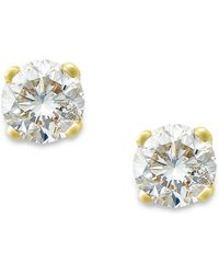 Macy's - Round-cut Diamond Earrings In 10k Gold (1/6 Ct. T.w.) - Lyst