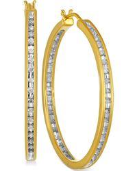 Macy's - Diamond Hoop Earrings (1/2 Ct. T.w.) In Sterling Silver And 14k Gold - Lyst