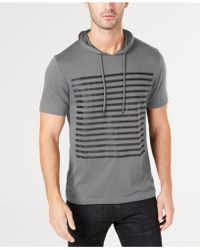 INC International Concepts - Striped Short-sleeve Hoodie, Created For Macy's - Lyst