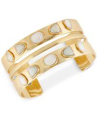 Lucky Brand - Gold-tone Stone Double-row Cuff Bracelet - Lyst