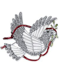 Charter Club - Silver-tone Crystal & Epoxy Peace Dove Pin, Created For Macy's - Lyst