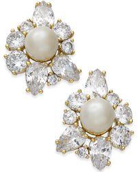 Kate Spade - Gold-tone Crystal & Imitation Pearl Stud Earrings - Lyst