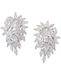 Nina - Silver-tone Crystal Cluster Drop Earrings - Lyst