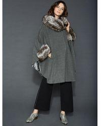 d26297a5d2c Lyst - The Fur Vault Plus Size Fox-fur-trim Leather Cape in Black