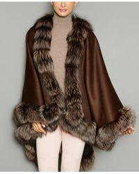 e434f7aeadf Lyst - The Fur Vault Fox-fur-trim Wool-blend Cape in Black