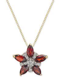 """Macy's - Rhodolite Garnet (1 Ct. T.w.) & Diamond (1/10 Ct. T.w.) Star 18"""" Pendant Necklace In 14k Gold - Lyst"""