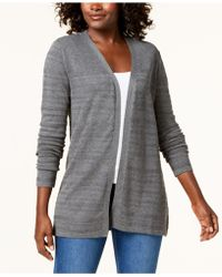 Karen Scott - Open-front Pointelle Knit Cardigan, Created For Macy's - Lyst