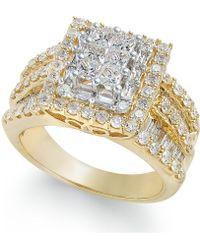 Macy's - Diamond Cluster Ring (2 Ct. T.w.) In 14k Gold - Lyst